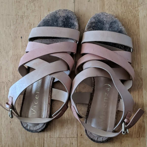 244843889af Anthropologie Shoes | Pink And Cream Vincenza Sandals | Poshmark